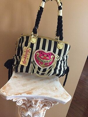 Betsey Johnson Betseyville Nautical  Anchors Away Striped Large Bag BLACK/:GOLD