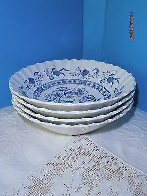 """Set of 4 J & G Meakin Blue Nordic Coupe Bowls 6 1/2"""" Cereal Staffordshire"""