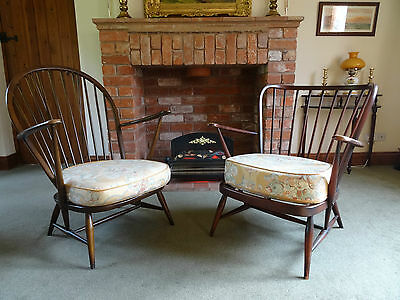 'Ercol' ORIGINAL PAIR GRANDFATHER & GRANDMOTHER WINDSOR ARMCHAIRS - SUPERB!