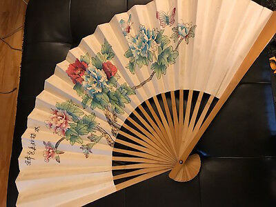 Antique Vintage Japanese Hand Painted Fan