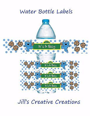 Cookie Monster Baby Shower, Cookie monster, baby shower, water bottle labels