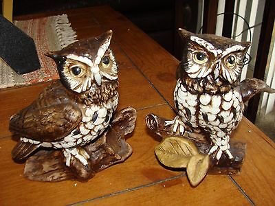 "#1114 Set of Owls Figurines   Vintage Home Interiors 5"" tall"