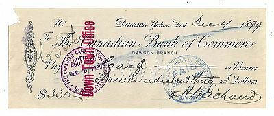 Dec. 4, 1899 The Canadian Bank of Commerce Check - Dawson, Yukon District