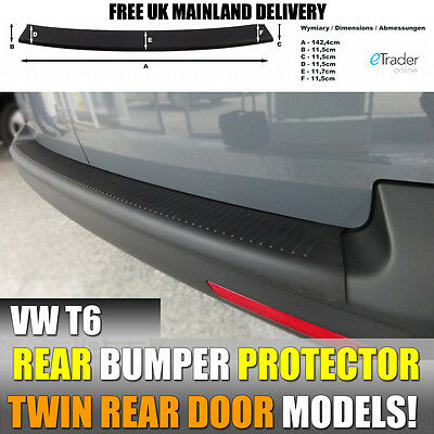 Vw Transporter T6 2015 >Rear Plastic Bumper Protector Black With Rear Barn Doors