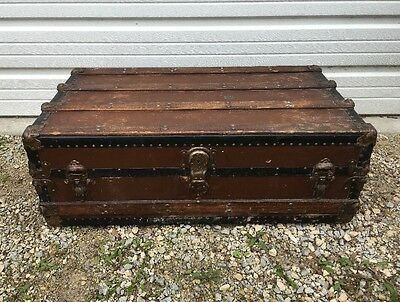 "Antique Steamer Trunk 36"" Footlocker Storage Box Vintage Decor Coffee Table"