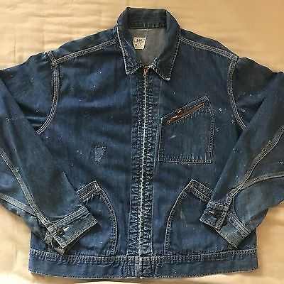 VINTAGE 1970's LEE 91B DENIM WORK WEAR JACKET MEN'S SIZE 42 UNION MADE