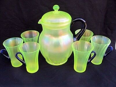 FENTON Lemonade Set Green Satin Irid Vaseline Glass 8-Pieces Cobalt Handles!
