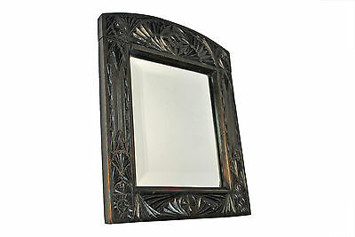 Antique Frisian Wood Chip Carved Frame with Bevelled Mirror, Dutch.