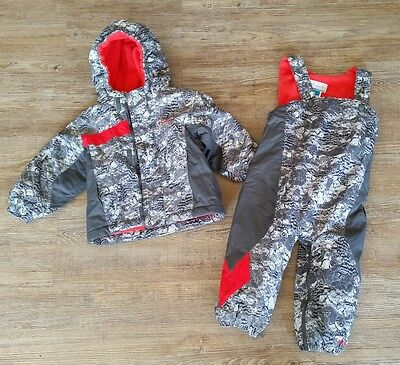 Columbia Boys Gray Snow Suit Jacket Bib Pants Set Size 24 months Fleece Lined