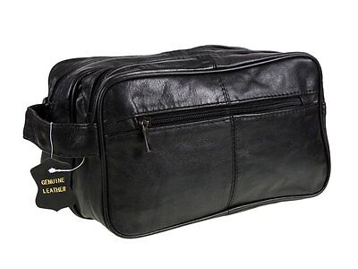 Men'S Brown Genuine Leather Travel Overnight Wash Gym Toiletry Bag New