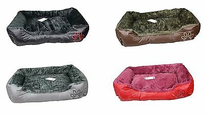 Luxury Wrax Leather Pet Basket Warm Super Soft Bed Washable Cosy Fleece Dog Cat
