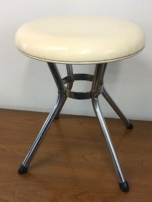 """Vintage Cosco Round Stool White 4 Chrome Legs 16"""" Tall Padded Clean Mid Century"""