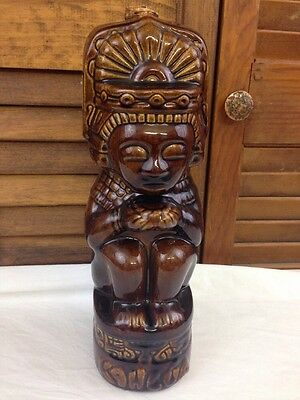 VTG KAHLUA BROWN Ceramic TIKI Decanter Bottle Mexico Mayan Heritage Liqueur