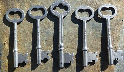Five Assorted R & E Antique Mortise Lock Skeleton Keys Antique Door Keys