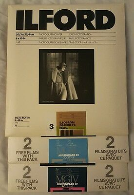 ilford photographic paper LOT-MGIV, MGRC, Galerie fb, 75 sheets total, 8x10in.