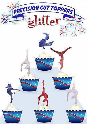 Gymnastics Gymnast Sports Party GLITTER cupcake cake Toppers PRE-CUT Cup Cake