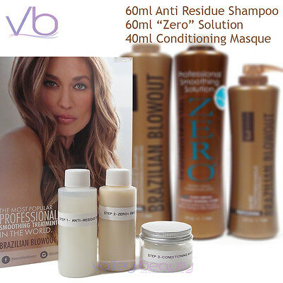 Brazilian Blowout Smoothing Solution ZERO+, Anti Residue Shampoo, Masque - Kit