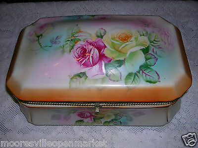 Vintage RS Prussia Reproduction Porcelain Flower Decor Jewelry Box Trinket box