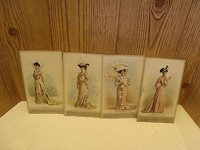 4 Antique 1800s Crawford Shoe Cards w/Ladies in Gowns on Front Side with Issues