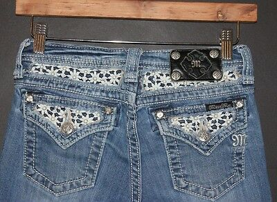 MISS ME Girls' CAPRI Jeans Blue Denim Embellished Pockets sz 16