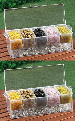 2 CHILLED Condiment Server Caddy Holder Dispenser, Container Cooler Bar 5 Trays