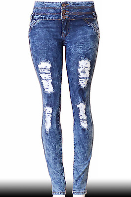 High Waist  Stretch Push-Up Colombian Style Skinny Jeans in M.blue  N1195