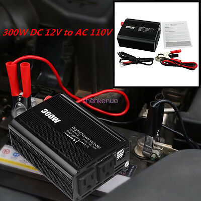 300W 12V DC To 110V AC Car Off-Road Electronic Power Inverter & Dual USB Port