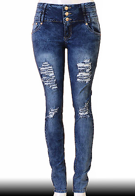High Waist  Stretch Push-Up Colombian Style Skinny Jeans in M.blue  N1691
