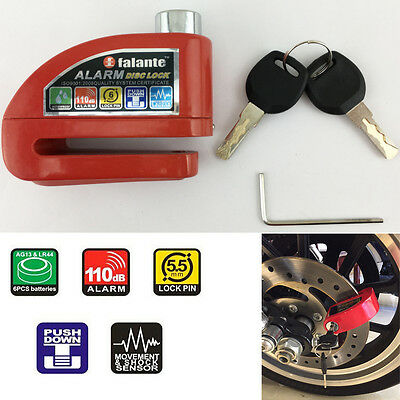 Motorcycle Wheel Disc Lock Anti-theft Alarm Disk Brake Lock Red 108dB 1pcs