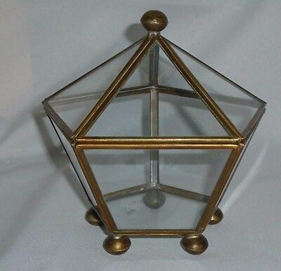 Vtg Hexagonal Footed Curio Mini Cabinet Box Glass Brass Jewelry Display  6""
