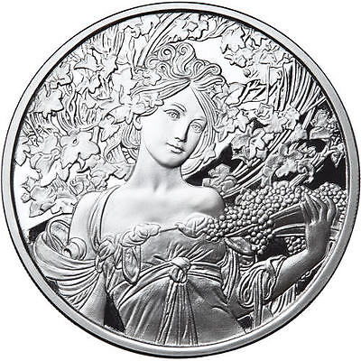 Alphonse Mucha Collection - CHAMPAGNE 1 oz Silver USA Proof Capsuled Round W/COA