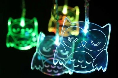 Acrylic Owl light Chain - with colour changing LED lights