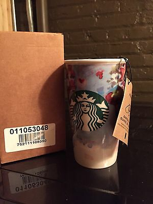 2016 Starbucks Barista Watercolor Art Traveler Tumbler Mug 12 oz