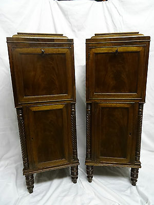 BEAUTIFUL PAIR 19thc REGENCY FIGURED MAHOGANY BEDSIDE CABINETS CHESTS