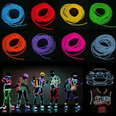 Car Party Atmosphere LED Flash Flexible Neon Light Glow EL Strip Tube Wire Rope