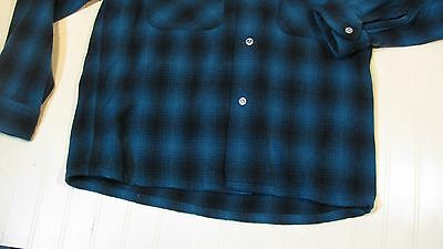 Vtg 50s Sears PILGRIM Mens Small Green Shadow Plaid Wool Loop Collar Board Shirt