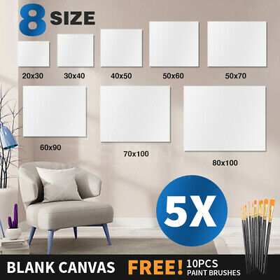 5x Economy Artist Blank White Stretched Canvas Super Value Pack 5 Acrylic Wood