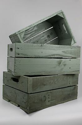 Re-purposed Vintage Style Rustic Apple Crates Wooden Storage Boxes Size Medium