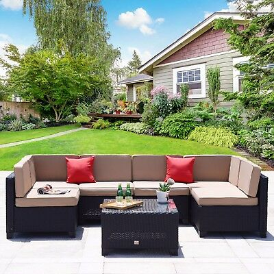 7 PC Patio PE Wicker Furniture Sectional Set Backyard Outdoor Garden Sofa Black
