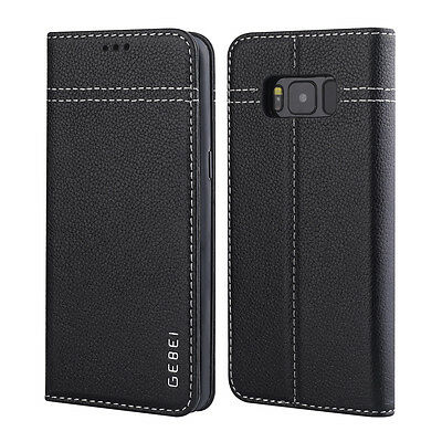 GEBEI Genuine Leather Card Holder Case Cover for Samsung Galaxy S8 Plus G955