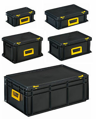 Portable Euro Stackable Plastic Tool Box Boxes Tool Storage Carry Cases–5 Sizes!