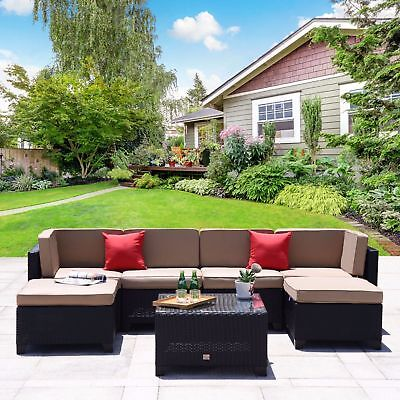 7 PC Patio PE Wicker Furniture Backyard Outdoor Garden Sectional Sofa Set Black
