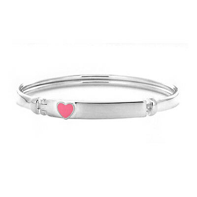 Babies/girls 925 Silver 50Mm Clip Open Bangle With Pink Enamel Heart Id Plate