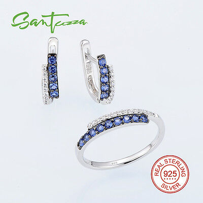 Ring Earrings Jewelry Set 925 Sterling Silver Blue White Stone Cubic Zirconia CZ