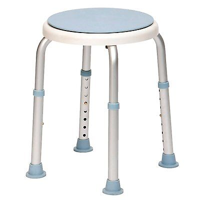 Round Bath & Shower Stool with Swivel Seat Adjustable Height Chair Bathing Aid