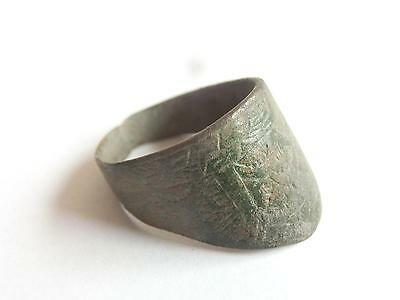 SCARCE Ancient ROMAN Bronze ARCHER'S THUMB RING Engraved ~ Fine patina