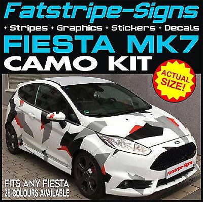 Ford Fiesta Mk7 Graphics Camo Stickers Decals Bonnet Roof Camouflage St Zetec Rs
