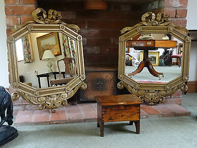 STUNNING PAIR PERIOD 19thc REGENCY BOW CARVED HEXAGONAL GILT WALL MIRRORS