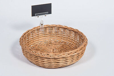 Round Wicker Bread Display Basket with price holder and chalkboard