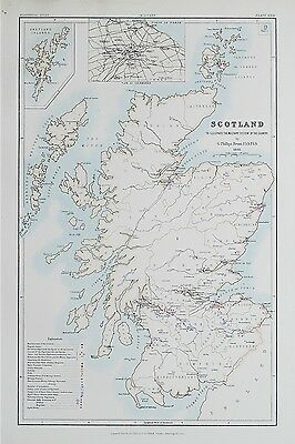 1881 Scotland Map To Illustrate the Military System of the Country Barracks